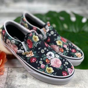 Vans black floral classic slip on shoes Garden
